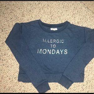 Aeropostale blue  XS sweatshirt Allergic to Monday